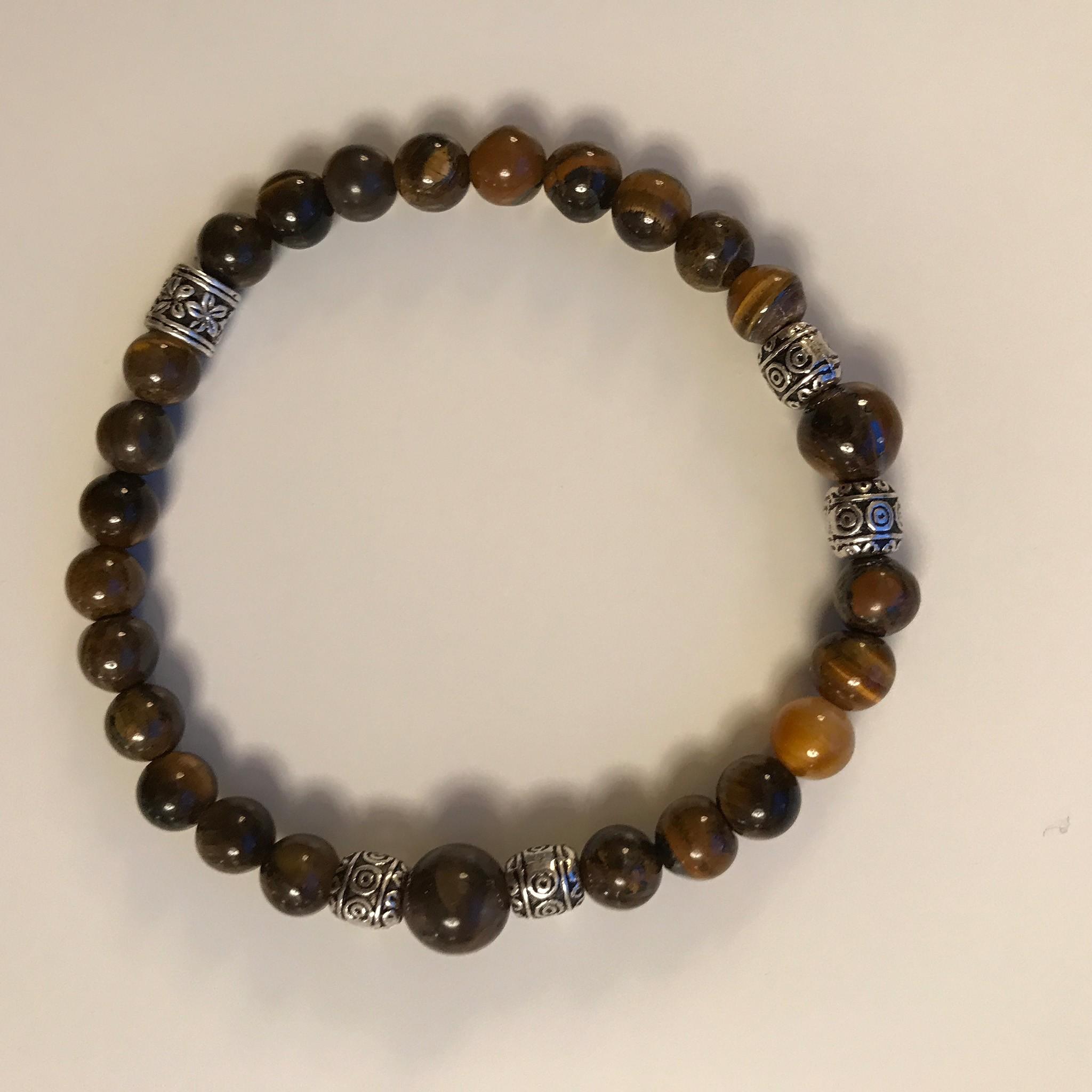Bracelet oeil de tigre et argent 0278